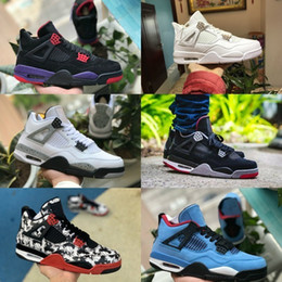 new product 8e2d5 41f0d 2019 New nike air jordan 4 shoes air max michael jordans retro 4s Tattoo  Schwarz Weiß Zement Graffiti Kaktus Jack Raptors Herren Basketball Schuhe  Designer ...