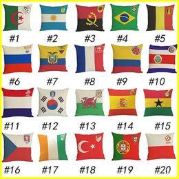 Emblème national en Ligne-2018 La Coupe du Monde DE France Espagne Italie drapeau national emblème oreiller en lin pour personnaliser le coussin de fans de football pour les jouets en peluche