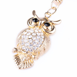 Ciondolo portachiavi farfalla online-Borse Accessori Strass Crystal Butterfly Owl Peacock Keychain Car Ciondolo borsa Fashion Jewelry Pendant Decoration