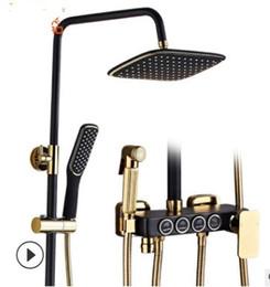 sistemas de ducha de lujo Rebajas Juego de ducha europeo para prendas de vestir de color negro plateado, con cuatro monedas, glaseado, platino, espolvoreado, multifunción