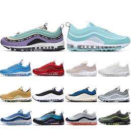 nike air max 97 shoes Nuovo Overbranding Blue Hero Scarpe da corsa per donna uomo Balck Metallic Gold South Beach Giallo Triple White Scarpe da tennis