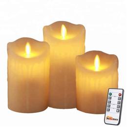 Движущаяся фитиль онлайн-3PCS стиль капания движущихся фитиль беспламенный светодиодный пульт дистанционного управления восковые свечи с таймером, батарея мерцает светодиодный столб восковая свеча