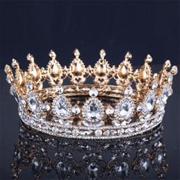 Couronne de reine accessoires en Ligne-Vintage Baroque Reine Roi Mariée Tiara Couronne Pour Les Femmes Coiffure Bal De Mariée De Mariage Diadèmes et Couronnes Bijoux de Cheveux Accessoires