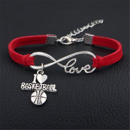 braccialetto di pallacanestro di cuoio Sconti 2019 New Trendy Red Leather Suede Wrap Jewelry For Women Uomini Infinity Love I Heart Basketball Sport Team Charm Bracciali Braccialetti Regalo