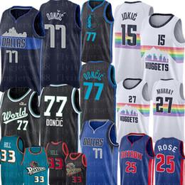 trikot 27 Rabatt NCAA Luka 77 Doncic Jersey Nikola 15 Jokic Jamal 27 Murray Jersey Universität Männer Derrick Rose 25 Basketball-Trikots