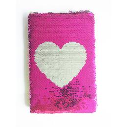 Заметки цвет страницы онлайн-Новый ноутбук A5 Цветной двусторонний блесток Love Heart Diary Notebook 78 Page Журнал DIY Личный дневник Записная книжка
