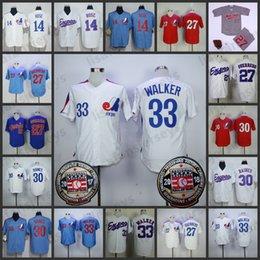 Montreal Expos 1982 Jersey branca 27 Vladimir Guerrero 30 Tim Raines 14 Pete Rose 33 Larry Walker Masculina Retro Azul Vermelho Camisas Vermelhas de
