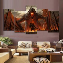Wholesale Pinturas da arte da fantasia Jogo Pintura of Thrones Movie Poster Obra de lona Dragão Imagem da pintura a óleo Wall Art SH190918 Pintura
