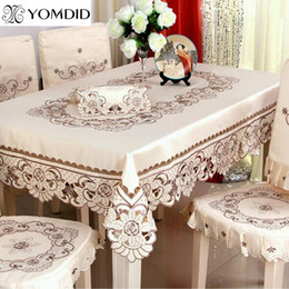 2019 mantel redondo bordado Cena / mantel bordado floral de la boda para el hotel casero redondo y el paño de tabla cuadrado Q190611 mantel redondo bordado baratos