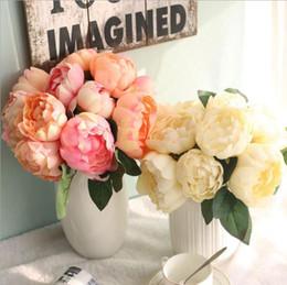 2019 bouquet di nozze in raso rosa Damasco rosa Hight Quality Satin flower 6 teste Bouquet Artificiale Rose Flowers Vivid Peony Fake Flower Wedding Home Decorazione del partito bouquet di nozze in raso rosa economici