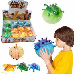 animali palloncini gonfiabili Sconti Dinosauro animale creativo Balloon Giocattoli Nuove unici TPR Giocattoli può soffiare Dinosaur Animali Vent palla gonfiabile L500