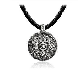 colar de mandala Desconto Flor da vida colar yoga chakra mandala colar de pingente de prata antiga zen buddha budismo amuleto jóias religiosas presente gb545