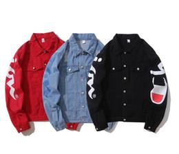 Jeans chaqueta on-line-O envio gratuito de marca casual tops de grife homens Cowboy Brasão Rua hip hop Denim Jacket Moda masculina Tide soltos Jackets chaqueta Brasão Masculino Jean