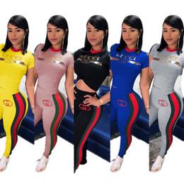 vestiti bohémien economici Sconti Le donne progettano la marca in due pezzi insieme tuta palestra t-shirt pantaloni girocollo manica corta bodycon leggings abbigliamento estivo plus size 415