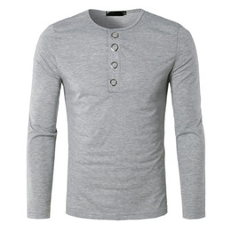 suéter largo para hombre Rebajas Hombres de la moda con cuello en V Botón de manga larga camisa de punto ocasional Pollover sólido para hombre de punto suéteres Otoño Botton Solid Slim Top 2019