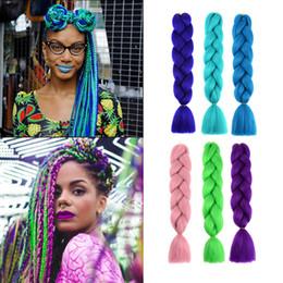 Extensiones de cabello africano online-Extensión de cabello trenzado gigante 24 pulgadas 100 g / pc Cabello sintético trenzado de ganchillo trenzado para mujeres afroamericanas