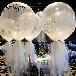 Ballons tisch online-10 stücke 36 Zoll 25g Jumbo Große Runde Latex Ballons Transparent Klar Riesen Hochzeit Ballons Tabellenmittel Brautdusche Party J190710