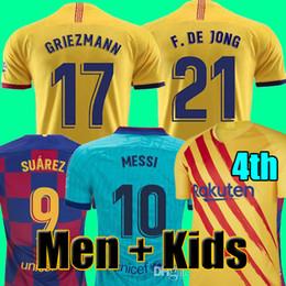 camisas longas do futebol da luva dos miúdos Desconto FC BARCELONA camisas de futebol 19 20 camisetas de futbol ANSU FATI 2019 2020 Messi GRIEZMANN DE JONG Maillots de camisa de futebol homens crianças kit