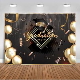 Abschlussfeier Hintergrund für Fotografie Gold Ballons Foto Hintergrund Studio 2019 Klasse Photo Booth Party Prom Dekoration von Fabrikanten