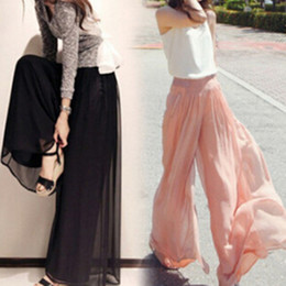 4d4225aa6a41 New Fashion Women Chiffon Pants Summer Wide Leg Pants High Waist Long Loose  Pants Palazzo Culottes Trousers Femme Pantalones