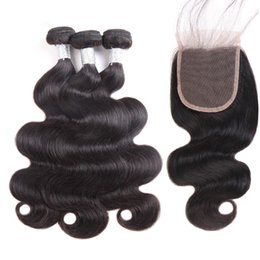2019 cheveux remy brésilien Perstar Top Fermetures En Dentelle Avec 3 Bundles Cheveux Vierges Brésiliens Tisse Brésilien Vague De Corps Remy Trames De Cheveux cheveux remy brésilien pas cher