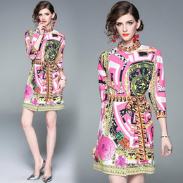 Deutschland 2019 Frühling Runway Retro Barock Print Casual Shirt Kleid Damen Damen Luxus V-Ausschnitt Langarm Schärpen A-Line Designer Kleider Vestidos cheap shirt dress women long sleeves Versorgung