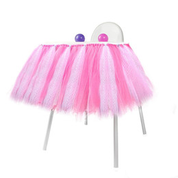 Decorazioni per la prima festa di compleanno online-Baby Shower Boy Party Set Tutu Tull gonna per le decorazioni di doccia seggiolone alto per A Girl 1st Birthday Decoration Blu Rosa