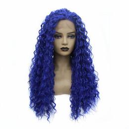 Preços perucas curly on-line-Preço barato Sexy Cor Azul longo do cabelo solto Curly Ondulado peruca dianteira do laço de calor perucas sintéticas resistentes para Mulheres