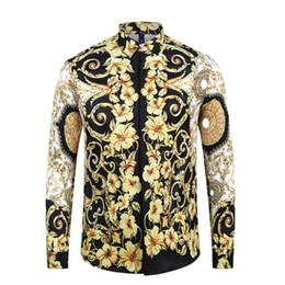 Vestido de lycra preto on-line-1717ss Brand New Camisas de Vestido Dos Homens de Moda Harajuku Camisa Ocasional Homens Medusa Ouro Preto Fantasia 3D Impressão Slim Fit Camisas