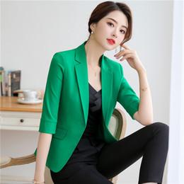 Nuevo estilo Moda Casuall Blazer Mujer Ropa de trabajo Ropa Chaquetas de mujer Media manga OL Estilos Chaqueta de chaqueta desde fabricantes