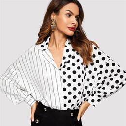 Blusa con botones y manga larga a rayas con lunares en blanco y negro a rayas Blusa de mujer 2019 Primavera Casual Blusas superiores desde fabricantes