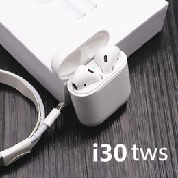 2019 microphone sans fil i30 TWS Pop-up 1: 1 taille des écouteurs sans fil 6D Super Bass Bluetooth 5.0 écouteurs