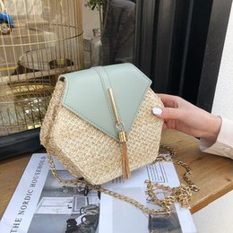 Sacchetti di denim fatti a mano online-Hexagon Mulit Style paglia + borsa delle donne della Estate Rattan Bag Handmade Woven Beach Circle Boemia pelle Tracolla New Fashion