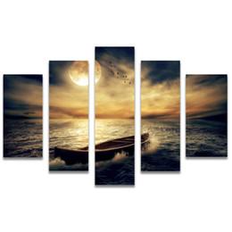 Pintura a óleo por do sol on-line-5 Pcs Combinações HD Crepúsculo porto marítimo mar pôr do sol Pintura Da Lona Sem Moldura Decoração Da Parede Pintura A Óleo Impressa cartaz