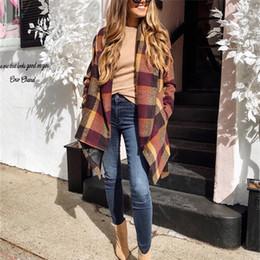 Плед печатных женские зимние пальто с поясами Англия стиль шерсть Свободные с длинными рукавами отворотом шеи пальто мода женщин пальто от Поставщики кашемировая шерстяная женская черная шерсть