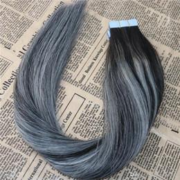 Balayage trasporto libero disegnata doppio 100% del Virgin superiore del nastro di qualità in estensioni dei capelli umani 2 / grigio / 2 Tape sulle estensioni dei capelli 350g / 140pcs da estensioni dei capelli gialli blu fornitori