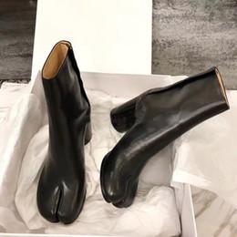 2019 margiela leder Perfekte offizielle Qualität Maison Tabi Leder Booties Fashion Street Style Schuhe Neue Designer Split-Toe Margiela Ankle Mm6 Stiefel rabatt margiela leder