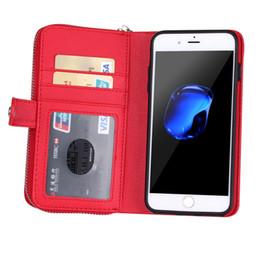 Кожаные чехлы для сотовых телефонов онлайн-Съемный кожаный бумажник чехол флип-карты задняя крышка молния сотовый телефон мягкие гелевые чехлы для iPhone 7 6 Plus