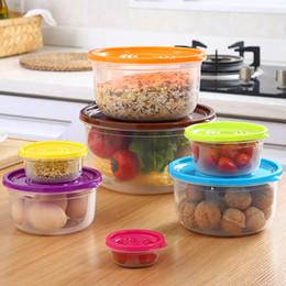 Экологически чистый пластик онлайн-5шт / компл Экологически чистые продукты питания для хранения Box Пластиковые Герметичный Зернистое Set Home Food Хранители Прозрачный Lunch Box CCA11667-A 10set