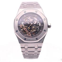 montres de roue Promotion montre de luxe Limitée Royal Oak Double Balance Montres Aux Ajourées Montres Acier Inoxydable Cadran Noir 15407 Montre 41mm Montre Homme
