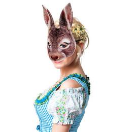 2019 máscara de coelho adulto Máscara de coelho EVA Meia Face Coelho Cosplay Halloween Masquerade Máscaras de Halloween Bunny Adulto Festa de Páscoa Máscara máscara de coelho adulto barato