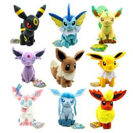 Juguete suave eevee online-30cm Pikachu Peluches Pikachu Peluches Umbreon Eevee Espeon Jolteon Vaporeon Flareon Glaceon Leafeon Muñecos de peluche suave Figuras