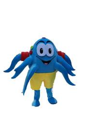 Trajes de personagens on-line-Fotos reais azul polvo mascot costume mascote personagem de desenho animado traje adulto tamanho frete grátis