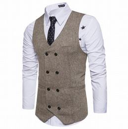 New Brown Zweireiher Weste Anzug Herren Westen Striped Slim Fit Weste British Vintage Blazer Sleeveless Jacket von Fabrikanten