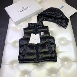 chaleco de la chaqueta de la muchacha Rebajas Chalecos de plumón para niños, ropa de diseñador para niños, chaquetas de invierno para niños y niñas con capucha, sombrero desmontable, diseño tricolor