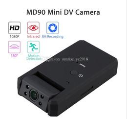 MD90 Mini DV Camara 1080P visione notturna ad infrarossi mini videocamera a 180 gradi di rotazione funzione Motion Detection DHL libera la nave da
