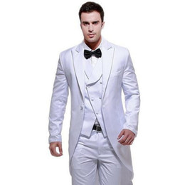 grey suit champagne tie Promo Codes - Customize High quality Two Buttons White Groom Tuxedos Peak Lapel Wedding Men's Suit Bridegroom Suits( jacket+Pants+vest+tie)