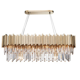 Comedor Araña de cristal moderna Lámparas colgantes ovaladas de lujo Comedor Suspensión LED Lustres De Cristal desde fabricantes