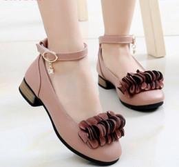 Kids Wedding Shoes Boy and girl Princess Girl School Party 2019 Korean PU Leather Fashion Heels Girls Flowers Shoes Flat shoes ? partir de fabricateur