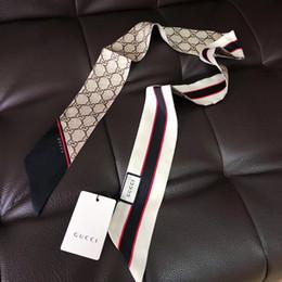 2019 envoltórios de lenços de botão Designer de luxo BOLSA de Seda Bolsa lenço Headbands Nova Marca mulheres scraves de seda 100% top grade de seda bolsa de cabelo cachecol bandas 8x120 cm